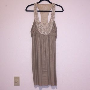 Anthropologie Gold & lace embroidered Dress